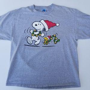 peanuts shirts santa snoopy woodstock christmas mens tshirt sz xl - Snoopy And Woodstock Christmas